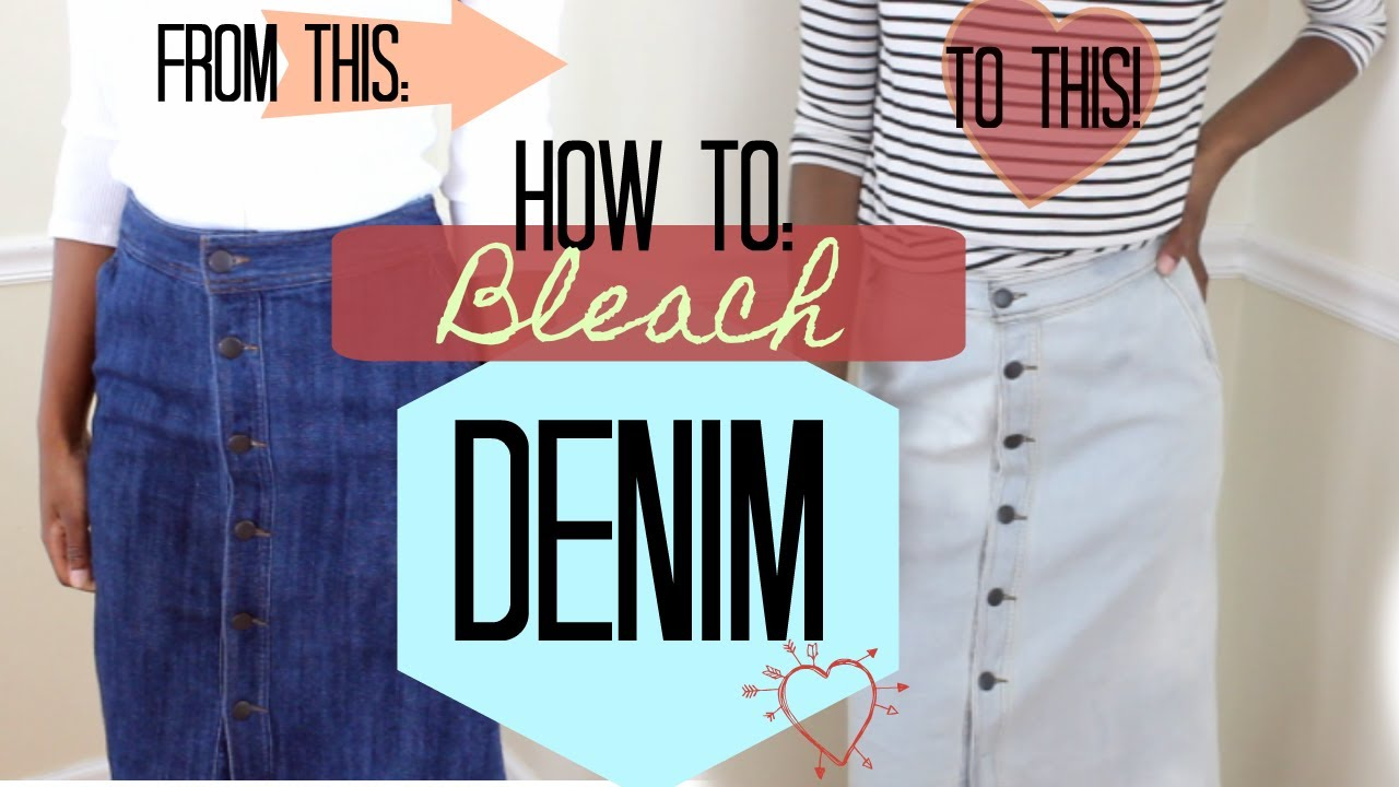 cfee476bc DIY: How to Bleach Denim Skirt - YouTube