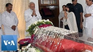 India Prime Minister Narendra Modi Pays Respects to Former Foreign Minister Sushma Swaraj