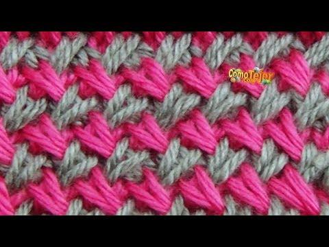 C mo tejer punto cruzado en colores cross stitch 2 agujas - Puntos de dos colores a dos agujas ...