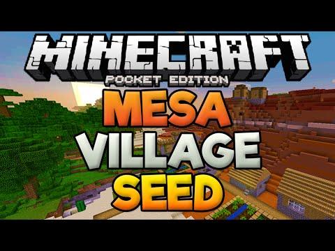 SECRET MESA VILLAGE!? - With Mineshaft & Dungeon - Rare Minecraft PE Seed (Pocket Edition)