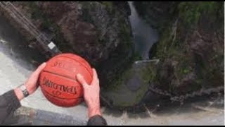 Watch what happens when a spinning basketball gets thrown off a dam