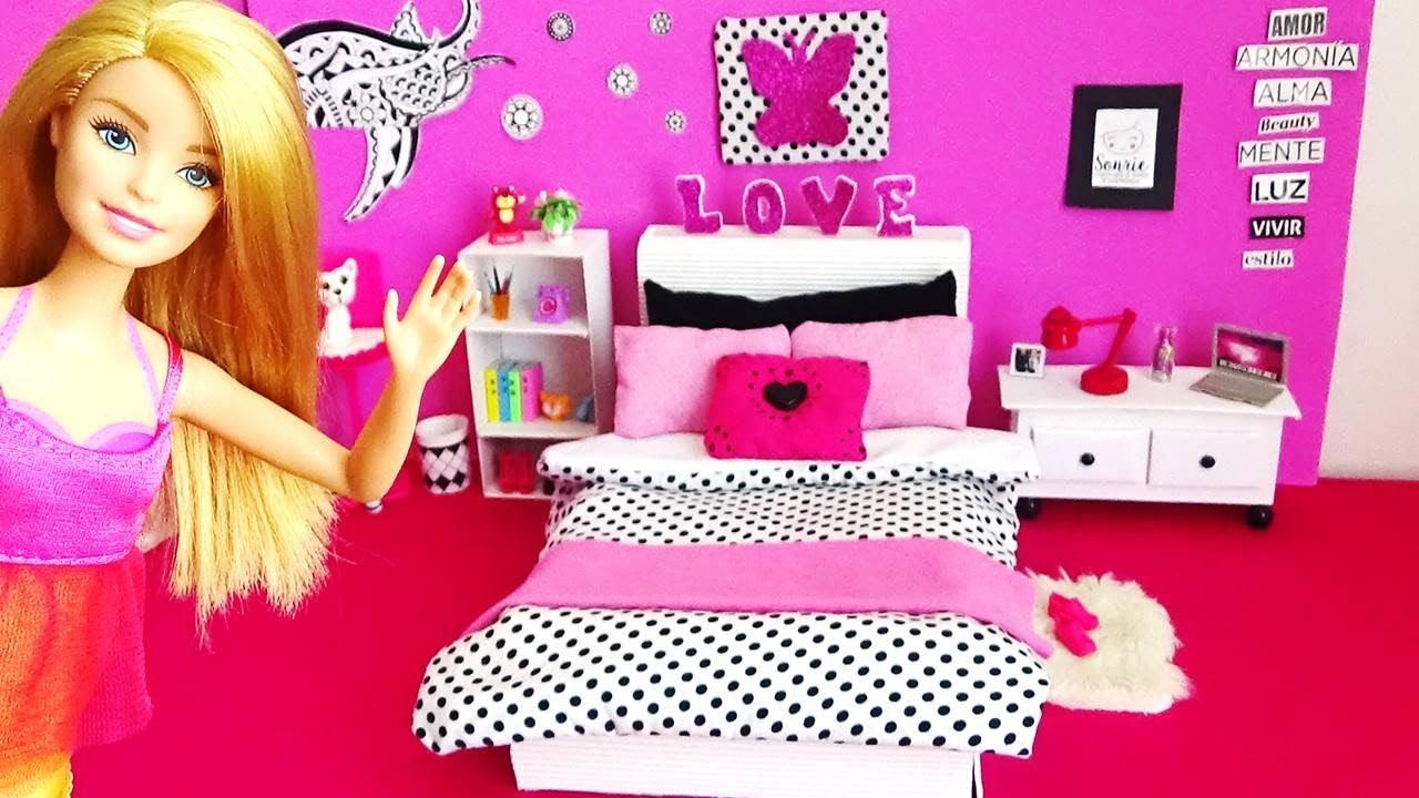 HABITACIÓN de Barbie // Decora el CUARTO de tu Muñeca, IDEAS Fáciles/  MANUALIDADES con MUÑECAS