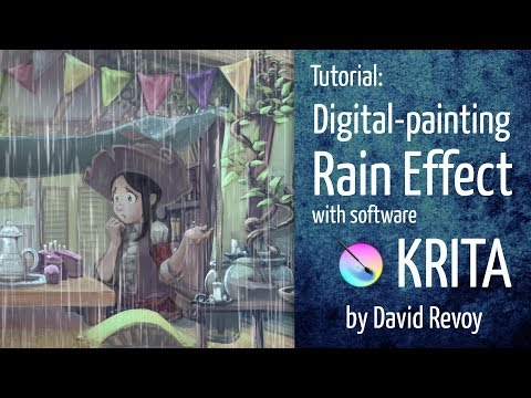 Rain Effect - Krita digital-painting tutorial