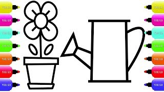 Flower Coloring Pages Easy | Chichewa Irrigation Coloring Pages For Children