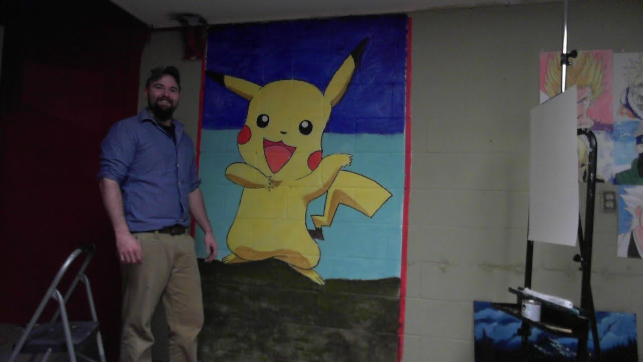 Pikachu Painting Pokemon Wall Art Youtube