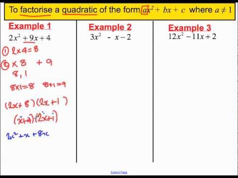 Factorising Quadratics Where A Is Not 14