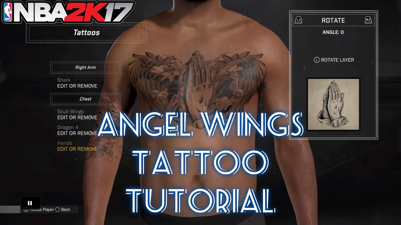 nba 2k17 how to get the angel wings tattoo tutorial