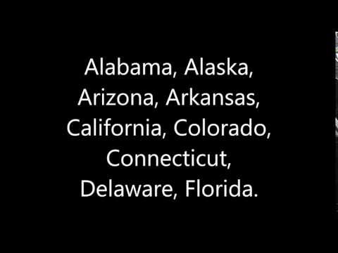 Alabama, Alaska, Arizona, Arkansas, California, Colorado, Connecticut, Delaware, Florida