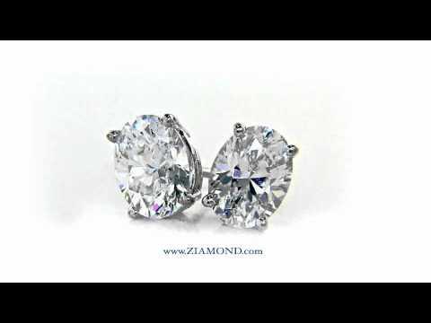 1 Carat Each Cubic Zirconia Oval Cz Stud Earrings Basket Set 14k White Gold By Ziamond E1000v1
