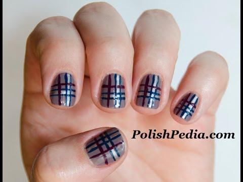 plaid nails tutorial easy