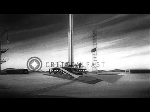 Animation shows the launch of Soviet satellite Sputnik 1. HD Stock Footage
