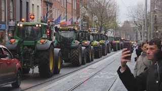 Tractor protest convoy leaves Dublin city led by Gardai