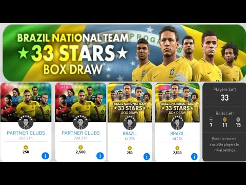 PES 17 ANDROİD - BRAZİL NATİONAL TEAM 33 STARS BOX DRAW TOP AÇILIŞI ( BALL OPENİNG )-PARTNER CLUBS