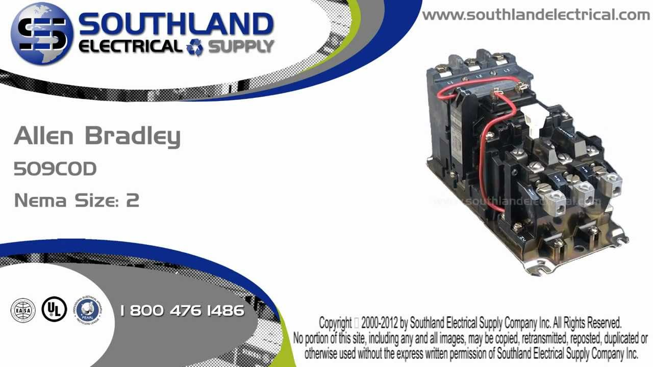 Allen Bradley 509 Cod Series A Nema Size 2 Magnetic Motor