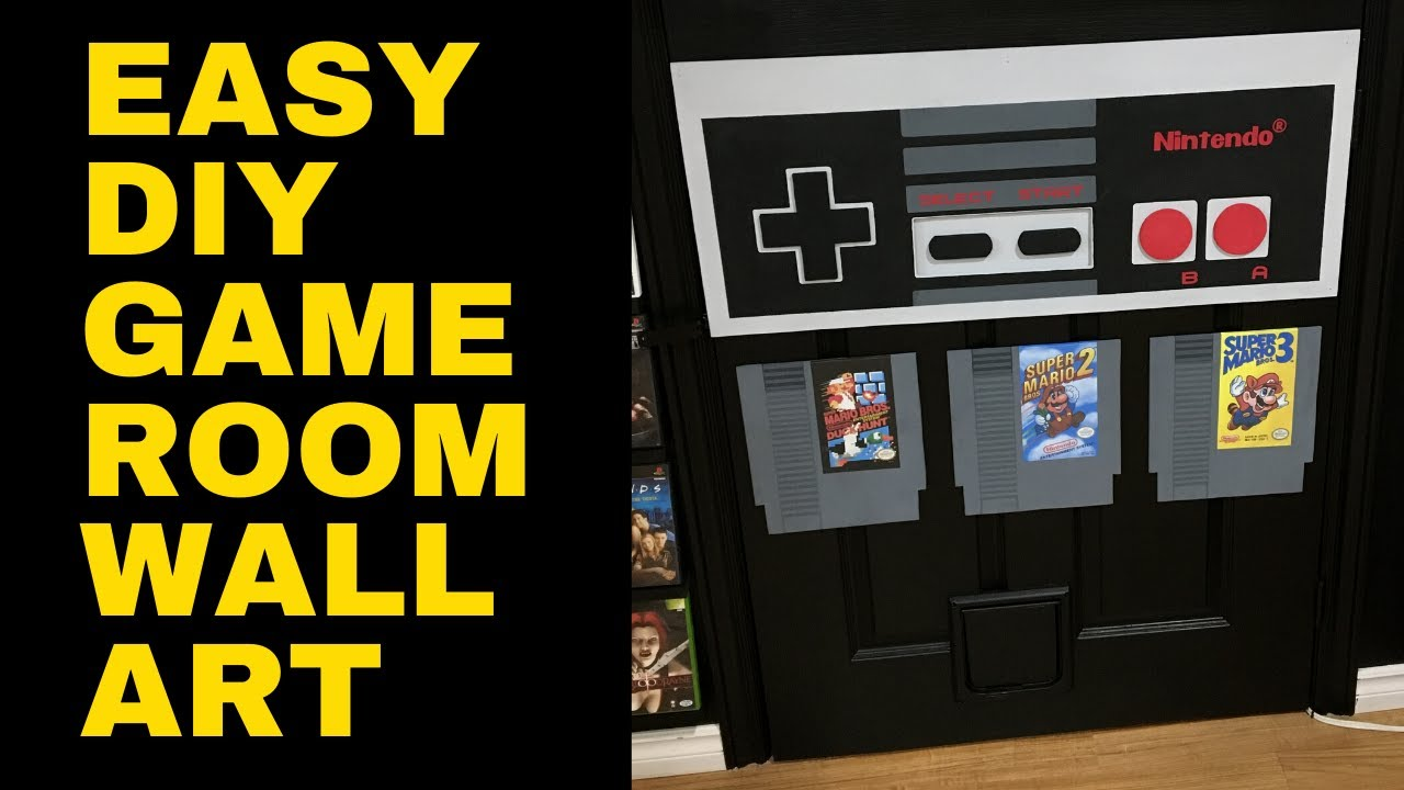 How To Easy Diy Game Room Wall Art Blending A Door Into Your Game Room Retro Rivals Youtube