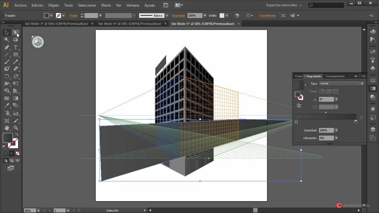 Illustrator 088 rejilla de perspectiva para edificio youtube for Programa para hacer edificios en 3d