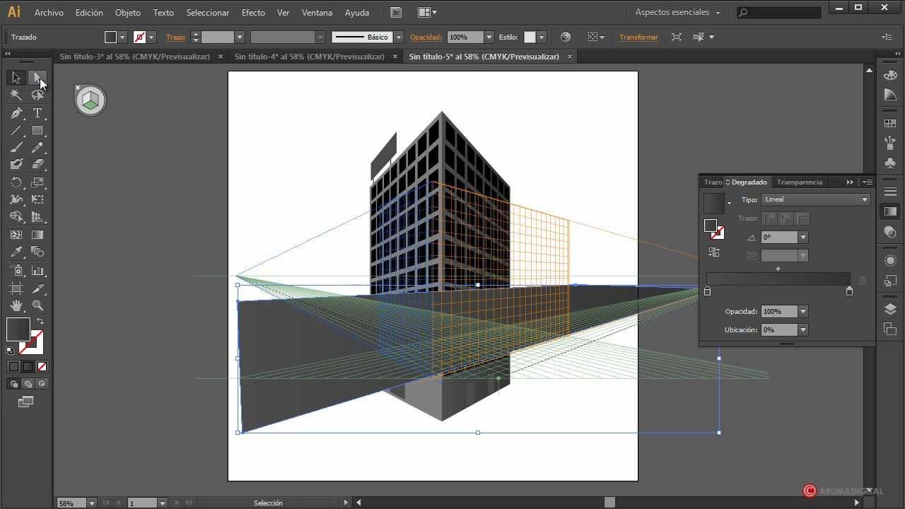 Illustrator 088 rejilla de perspectiva para edificio youtube for Paginas para hacer planos 3d