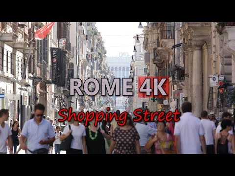 Ultra HD 4K Rome Shopping Street Video Stock Footage Travel Italy Sightseeing Tourist Attractions