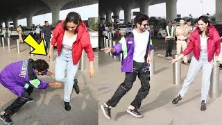 Deepika Padukone and Kartik Aaryan do the hook step to 'Dheeme Dheeme' at Mumbai airport