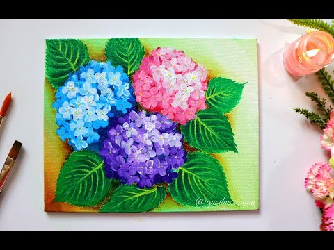 STEP by STEP Hydrangea Flower Painting for Beginners using Easy Techniques