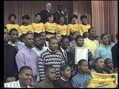 Mayor Coleman A. Young at Saint Martin de Porres High and 1988 No More Devil's Night Award Ceremony