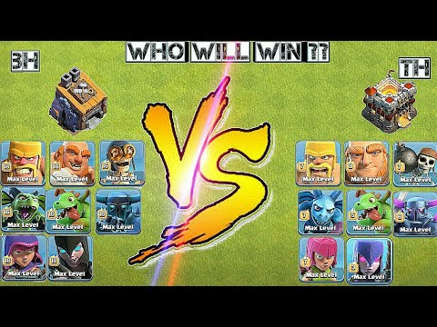 Max BH Troops Vs Max TH Troops | Satisfied Gamplay - Clash of clans