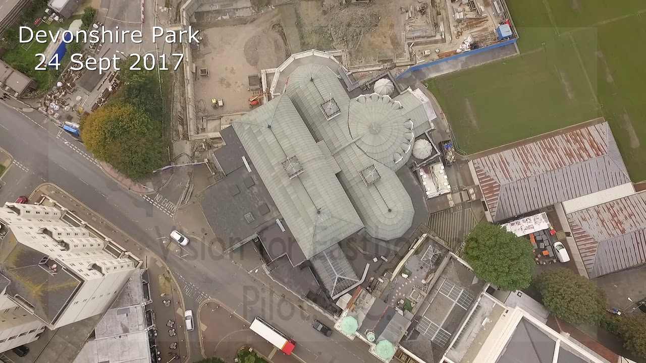 devonshire park eastbourne drone cam fly over youtube