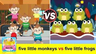 เพลงลิง 5 ตัว vs กบ 5 ตัว |  five little monkeys + Five Little Speckled Frogs | เพลงเด็กภาษาอังกฤษ