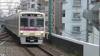 [警笛あり]京王7000系7728F京王線区間急行「新宿行き」笹塚駅到着
