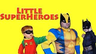 Little Heroes MARVEL DC Comics Superheroes in real life Batman + Robin + Wolverine