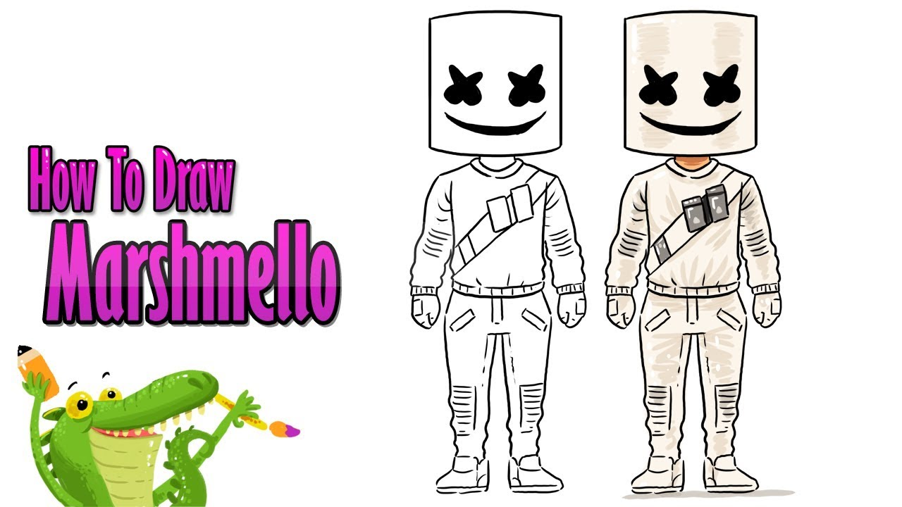 How To Draw and Coloring The Marshmello Skin Fortnite easy step by step ~  for kids