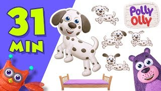 Five Little Puppies Jumping on the Bed | Popular Nursery Rhymes Collection by Polly Olly