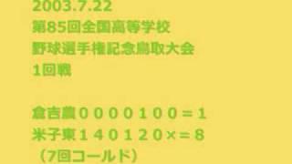 2003.7.22 第85回全国高等学校野球選手権記念鳥取大会 1回戦 米子東-倉...