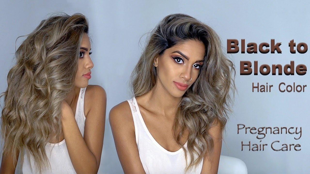 Black To Ash Blonde Hair While Pregnant Ariba Pervaiz Youtube