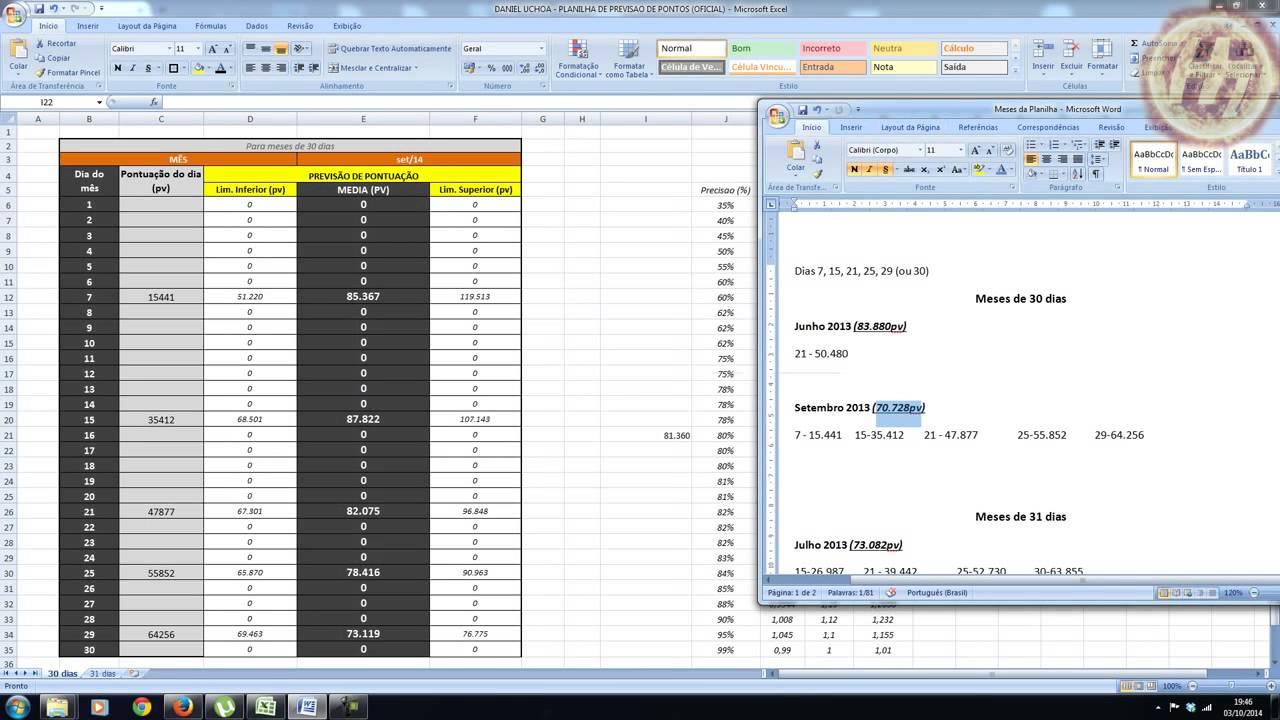 Preferência Planilha de Previsão de pontuação Hinode - YouTube EC33
