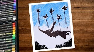 How To Draw a Women Flying Like a Bird Drawing With Oil Pastel Step By Step - Women Freedom Drawing