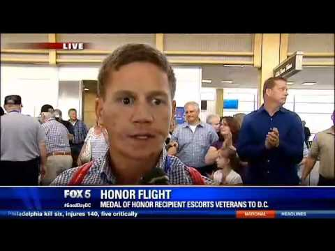 Medal of Honor recipient Kyle Carpenter escorts WWII and Korean War veterans on Honor Flight to DC