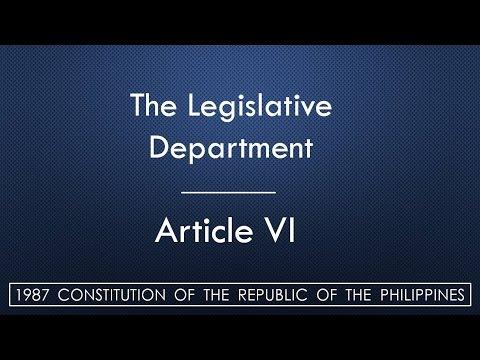 ARTICLE VI | THE LEGISLATIVE DEPARTMENT