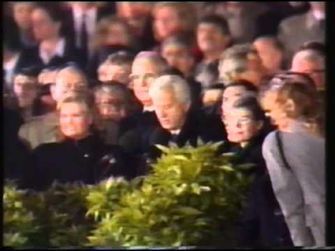 Deutsche Einheit Hymne vor dem Reichstag 03.10.1990
