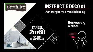 Instructie paneel 260cm Grosfillex op een vlakke wand