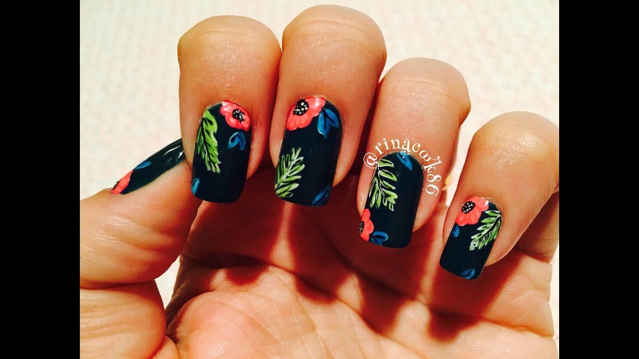 Dark Tropical Nails - YouTube