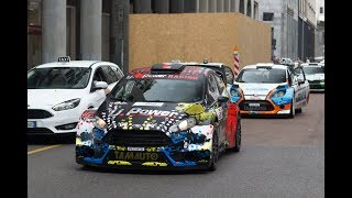 Rally cars driving in the streets! Milano Rally Show 2018