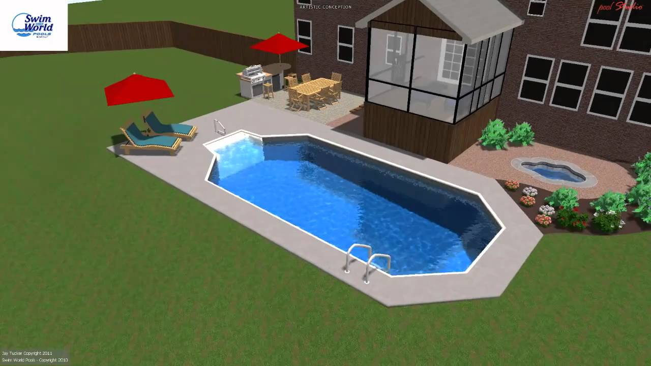 Troup grecian style vinyl pool swim world pools youtube for What is a grecian pool