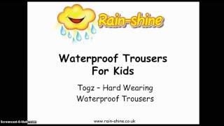 Waterproof Trousers For Kids - Togz Hard Wearing Waterproof Trousers