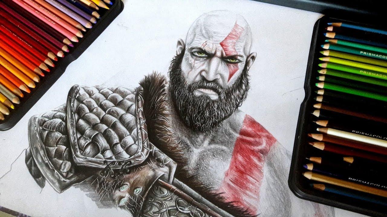 Dibujando A Kratos De God Of War 4 2018 Roycedibujoanime Youtube