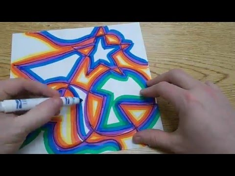Kids Art Project - Abstract Shapes with Warm & Cool Colors