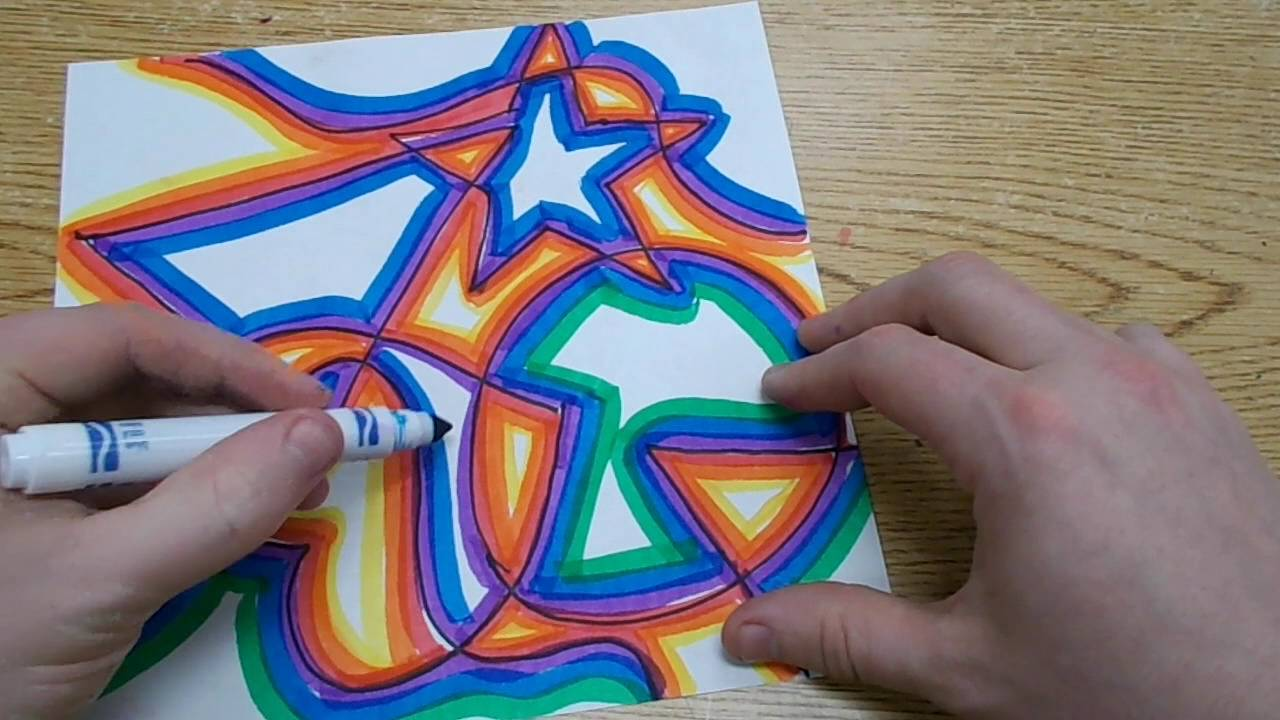 Kids Art Project - Abstract Shapes with Warm & Cool Colors ...