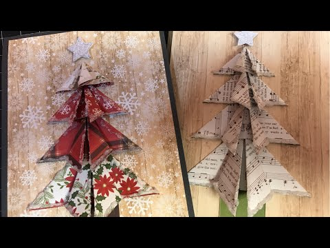 Folded Paper Christmas Tree Tutorial