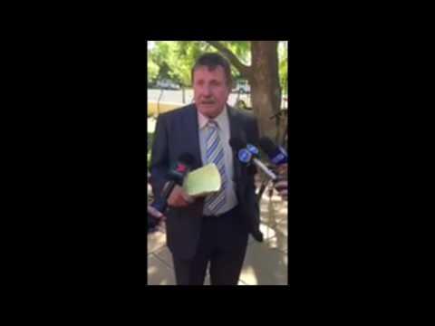 Peter Hebbard speaks to media