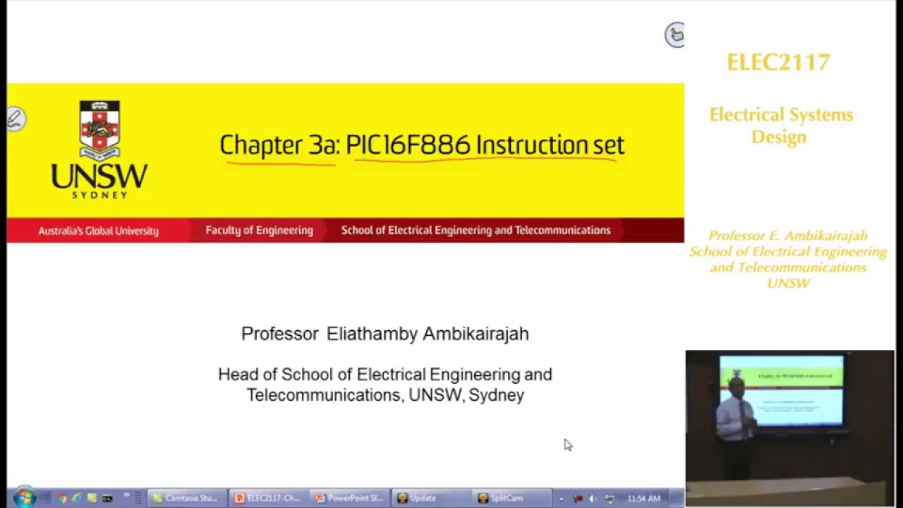 Embedded Systems - Chap 3a - PIC16F886 Instruction Set - Professor E. Ambikairajah - UNSW Sydney
